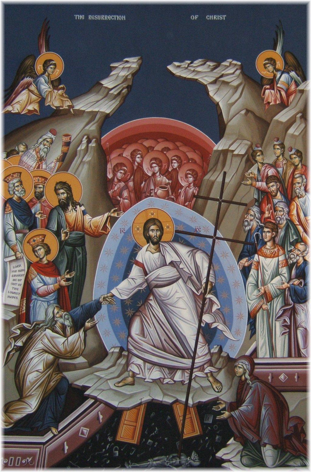 Ikonen visar Kristus som segrare över döden
