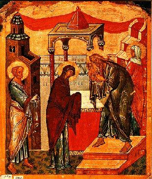 Kristi frambärande i templet. Jesus och Guds Moder i mitten, flankerade av Symeon och Anna på ena sidan och Josef på den andra.
