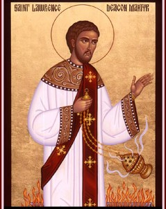 Sankt Lars (Laurentius på latin) hävdar att de fattiga och sjuka är kyrkans sanna skatt! Inte undra på att han har vördats så kärt i Sverige under många sekel.